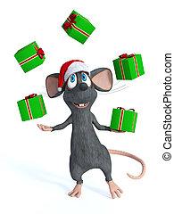 juggling, spotprent, muis, kerstmis, gifts.