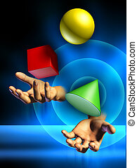 Juggling - Male hands juggling some colorful shapes. Digital...