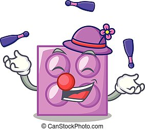 Juggling toy brick mascot cartoon