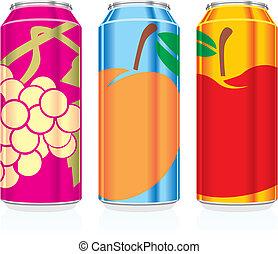 jugo, aislado, latas
