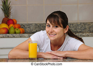 jugo, bebida, mujer, fruta, cocina