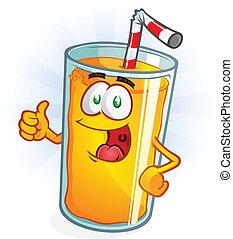 jugo de naranja, pulgares, caricatura, arriba