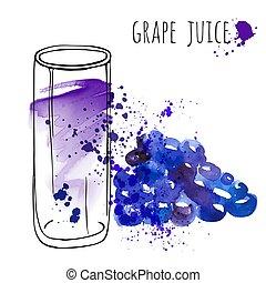 jugo de uva, en, vidrio, y, vid, vector, illustration., acuarela, bosquejo, sobre, uva, bebida, y, fresco, juice., mano, empate, vidrio, y, salud, uvas, drink.
