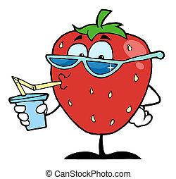 jugo, fresa, bebida