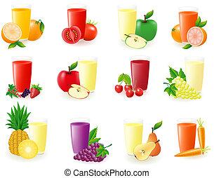 jugo, fruta, conjunto, ilustración, iconos
