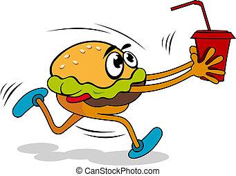 jugo, hamburguesa