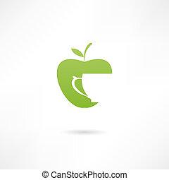 jugo, manzana, taza, icono