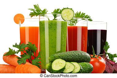jugos, aislado, vegetal, fresco, blanco, anteojos