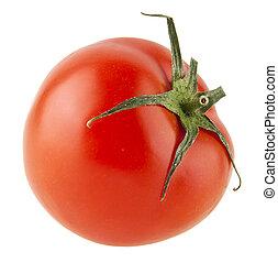 jugoso, fresco, crudo, tomates rojos, aislado, en, un, fondo...