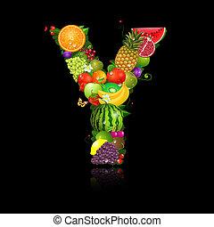 jugoso, fruta, en, el, forma, de, carta