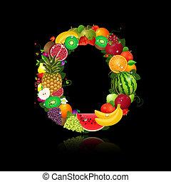 jugoso, fruta, en, el, forma, de, carta, o