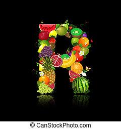 jugoso, fruta, en, el, forma, de, carta, r