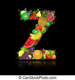jugoso, fruta, en, el, forma, de, carta, z