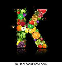 jugoso, fruta, en, el, forma, de, letra k