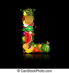 jugoso, fruta, en, el, forma, de, letra l
