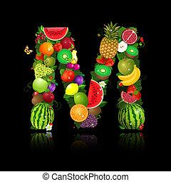 jugoso, fruta, en, el, forma, de, letra m