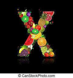jugoso, fruta, en, el, forma, de, letra x