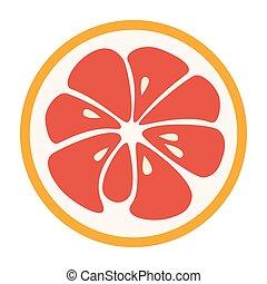 jugoso, fruta, icon., logotipo, toronja, rojo, elegante