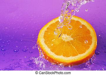 jugoso, naranja, y, salpicaduras