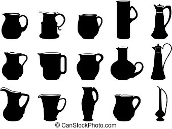 Jugs - fifteen different jugs silhouettes