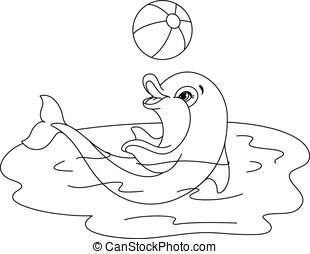 juguetón, colorido, delfín, página