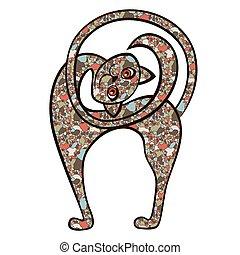 juguetón, divertido, gato, mosaico