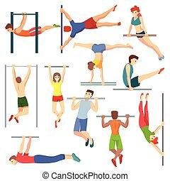juguetón, entrenamiento, conjunto, barra, caracteres, gente, atlético, atleta, ejercitar, ilustración, aislado, equipo, vector, plano de fondo, travesaño, entrenamiento, blanco, horizontal