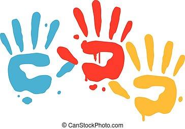 juguetón, impresiones, vector, niño, mano