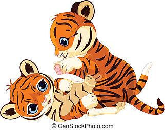 juguetón, lindo, cachorro de tigre