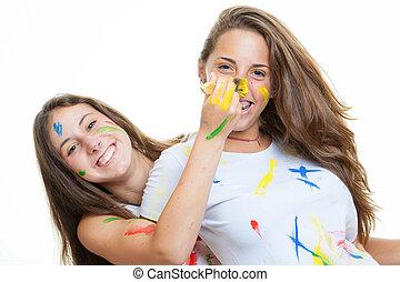 juguetón, muchachas adolescentes, pintura