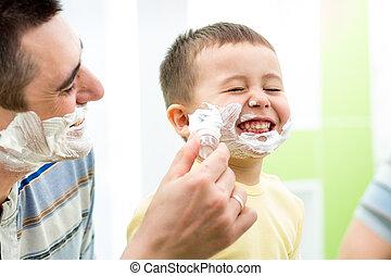 juguetón, niño, y, padre, viruta, juntos, en casa, cuarto de...