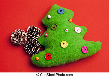 juguete, árbol, navidad, plano de fondo, rojo