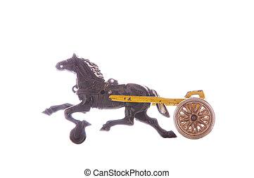 juguete antiguo, malhumorado, y, caballo