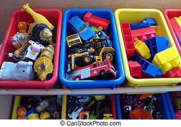 juguete, cajas, 2