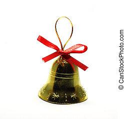 juguete, campana, aislado, plano de fondo, navidad blanca