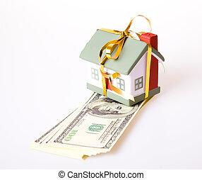 juguete, casa pequeña, con, un, oro, bow., el, concepto, de, compra, y, venta, de, habitation.