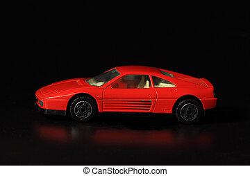 juguete, coche rojo