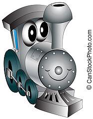 juguete de la guardería infantil, locomotora, alegre