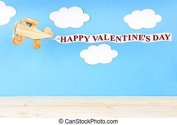 juguete de madera, avión, con, feliz, día de valentines, bandera