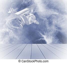 juguete de madera, avión, con, solar, cristal