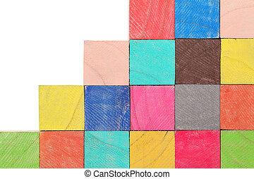 juguete de madera, bloques, colorido