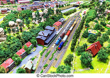 juguete, ferrocarril, disposición
