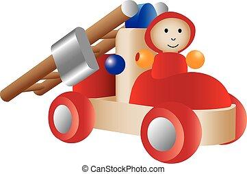 juguete, firetruck, ilustración