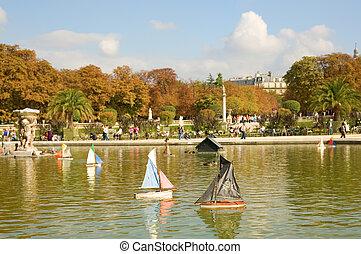 juguete, jardín, parís, luxemburgo, france., plan, barcos, pirata, barco, primero