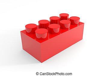 juguete, lego, aislado, white., bloque, rojo