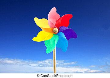 juguete, molino de viento, contra, cielo azul