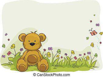 juguete, oso, follaje, plano de fondo