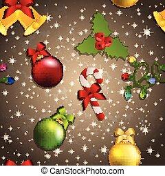 juguete, patrón, muérdago, árbol, dulce, año, nuevo, navidad