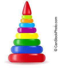 juguete, pirámide, niños
