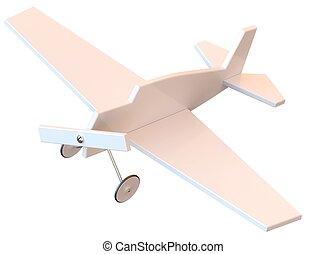 juguete, plástico, avión, aislado, blanco